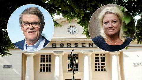 Oslo Børs med forvalter Jan Petter Sissener og Ragnhild Wiborg i Wiborg Capital Management innfelt.