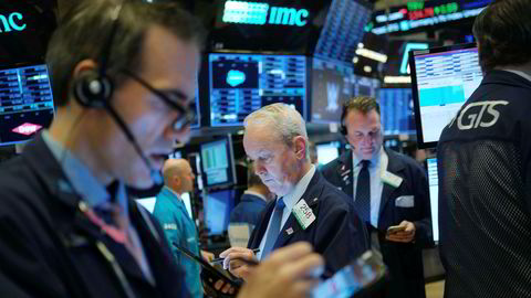 USA-børsene falt markant mandag. Her fra New York-børsen (NYSE).