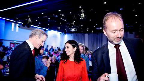 Arbeiderparti-leder Jonas Gahr Støre og nestleder Hadia Tajik har lagt frem et programforslag for mer statlig eierskap i næringslivet. I helgen behandles det på partiets landsmøte. T.h. Trond Giske.
