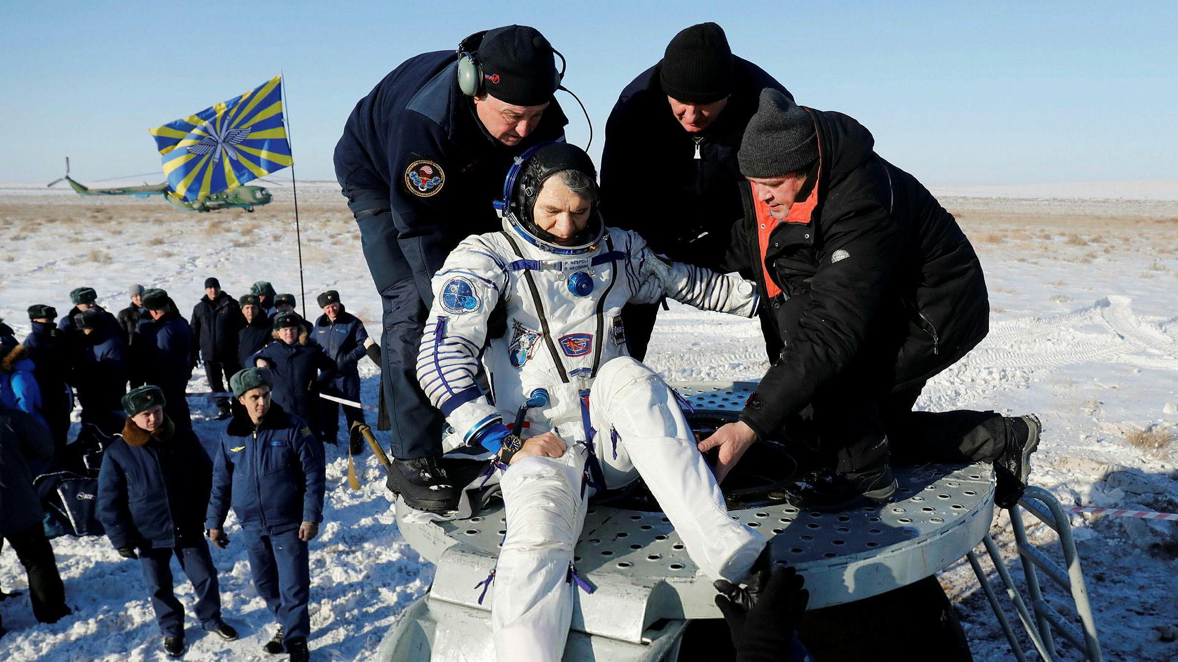 14. desember 2017 landet Paolo Nespoli i Kasakhstan etter et opphold på den internasjonale romstasjonen (ISS).