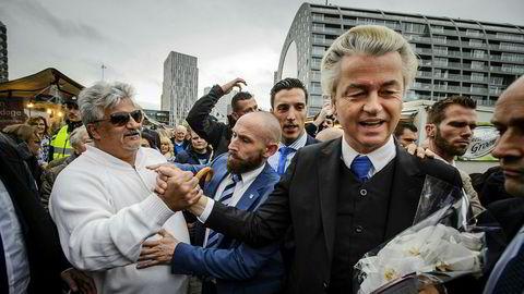 Geert Wilders har startet valgkampen med løfter om å forby islam. Her fra et valgmøte i Rotterdam denne uken.