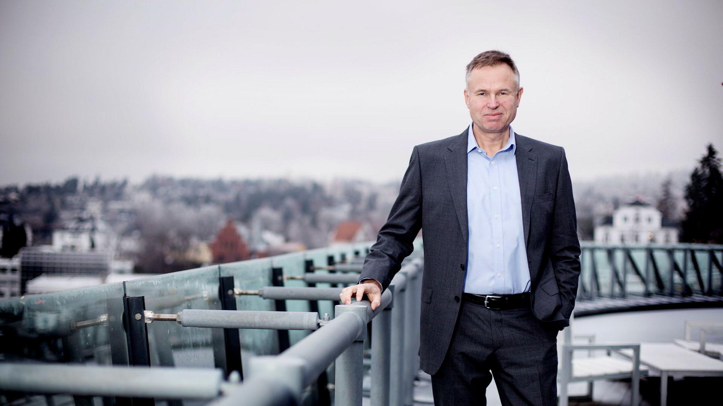 Investorselskapet KKR eier 31 prosent av Visma. Salget av eierandelene kan gi KKR en gevinst på 1,1 milliarder dollar, tilsvarende 9,3 milliarder kroner. Avbildet er konsernsjef Øystein Moan i Visma.