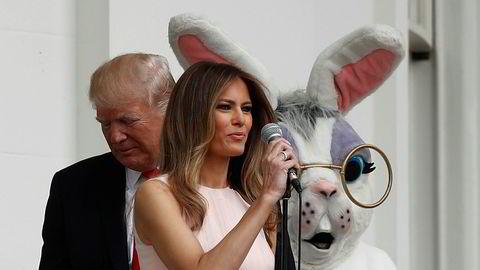 USAs president Donald Trump og førstedame Melania Trump arrangerte påskemoro ved Det Hvite Hus andre påskedag.