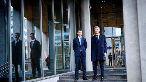 Norske Michael Zeier (til høyre) er ny leder for storkunder i hele Nordea-konsernet og merker økt aktivitet hos bedrifter som vil på børs eller hente inn ny kapital. Her med Thorodd Bakken, leder for kapitalmarked og transaksjoner i Nordea Markets i Norge.