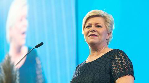 Partileder Siv Jensen holdt tale under Fremskrittspartiets landsmøte på Gardermoen lørdag.