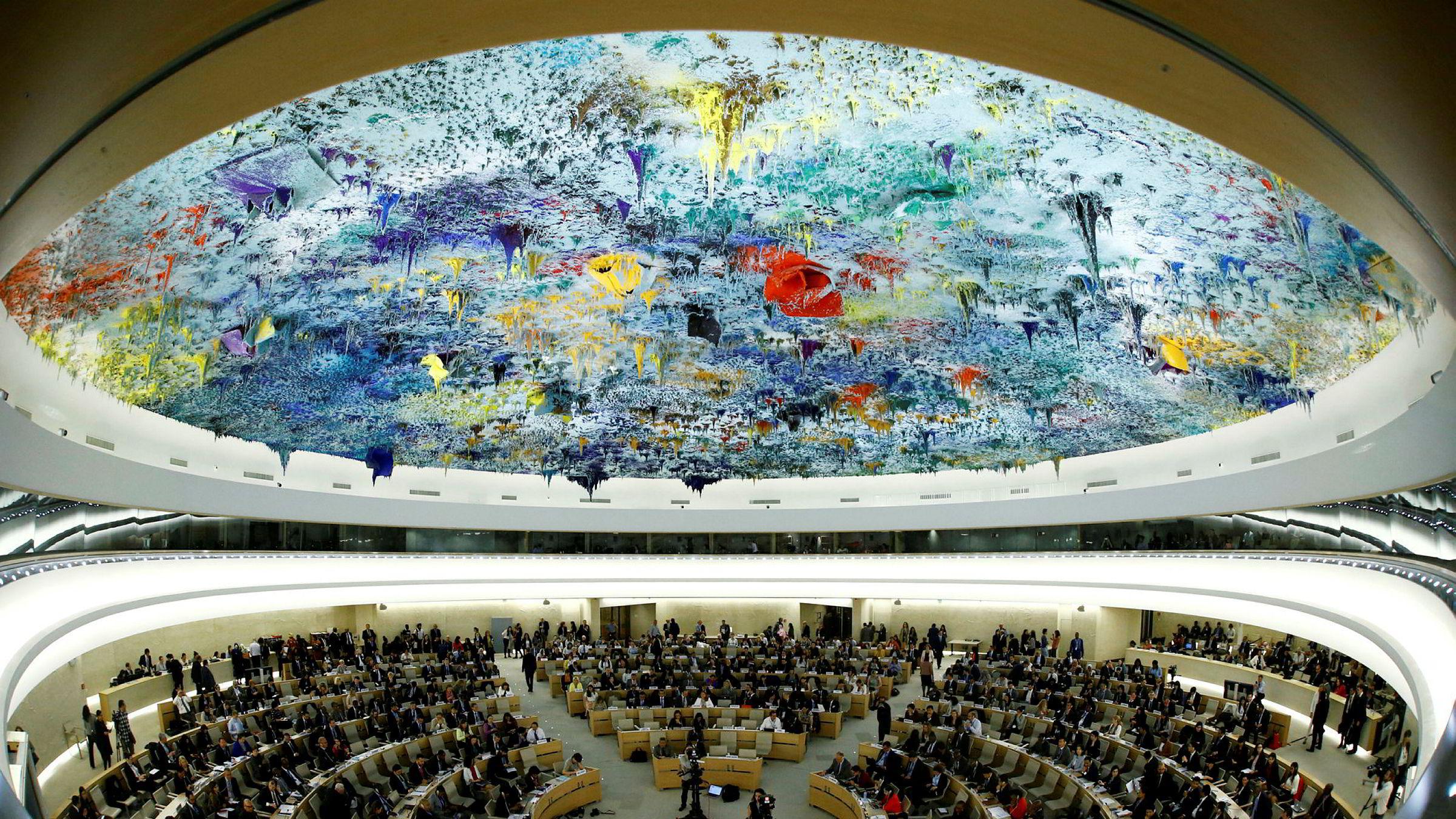 I FNs menneskerettighetsråd synes det åpenbart at menneskerettighetene ikke er hevet over politikk, skriver forfatteren. Her fra hovedkontoret til FNs menneskerettighetsråd i Genève, Sveits.