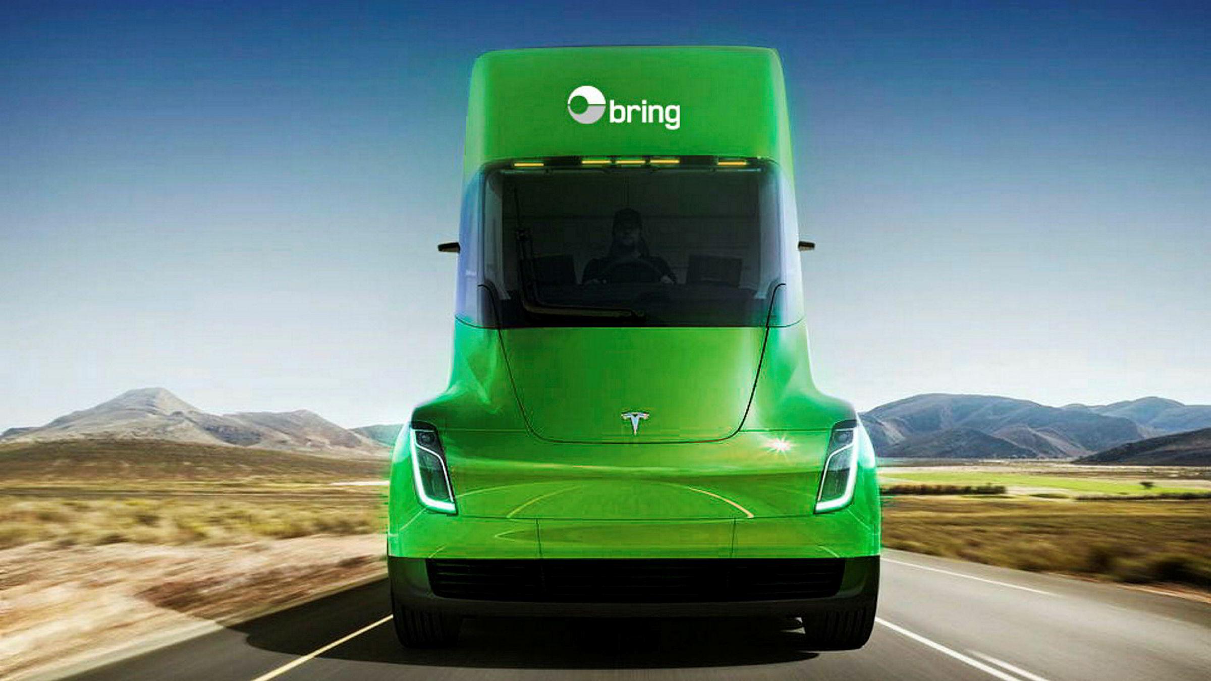 Slik mener Posten den vil se ut, lastebilen som skal produseres av Tesla og leveres til Posten i 2019.