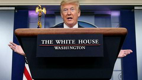 USAs president Donald Trump, her under en briefing i Det hvite hus tidligere i påsken.