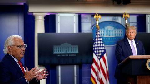Israel har ikke skrinlagt planene om å annektere Vestbredden tross avtalen med Emiratene, fortalte USAs ambassadør til Israel David Friedman på president Donald Trumps daglige pressekonferanse fra Det hvite hus.