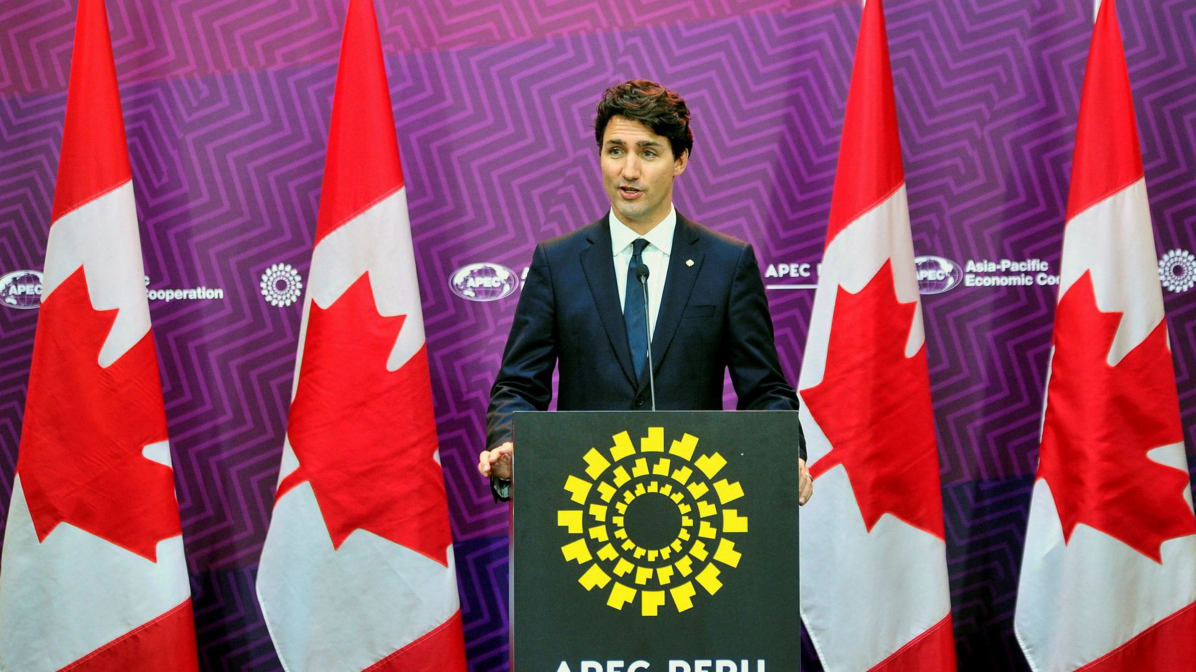 Canadas statsminister Justin Trudeau, her fra en tale til stillehavslandenes APEC-toppmøt før helgen.