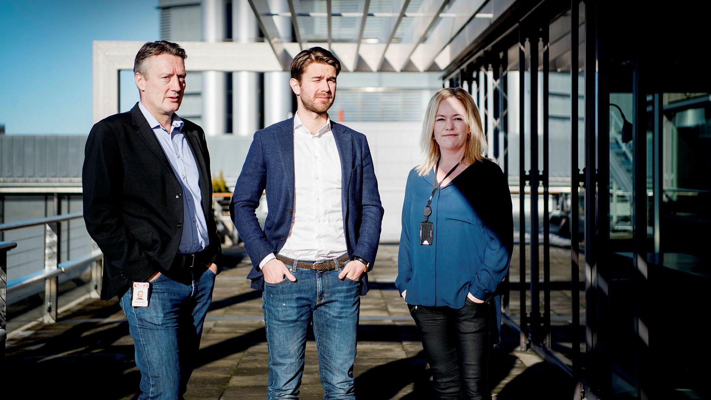 Svein Arne Haavik, innholdssjef i VG Partnerstudio, sammen med daglig leder Jonas Ibsen Brynildsrud og salgssjef Wenche Klundseter Salgssjef.