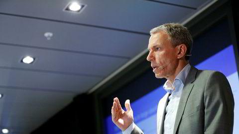 Rolv Erik Ryssdal, konsernsjef i Schibsted, legger frem tall for andre kvartal.