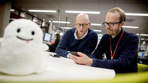 VGs digitalredaktør, Ola Stenberg (til venstre), og VGTVs strategidirektør, Thomas Manus Hønningstad har startet arbeidet med å sette sammen en egen redaksjon som skal lage Snapchat-innhold for VG.