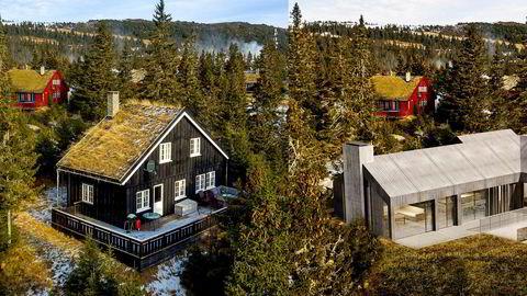 Hytta til venstre skal rives for å gjøre plass til en ny arkitekttegnet hytte med moderne design (til høyre). Den skal etter planen stå ferdig i oktober neste år.