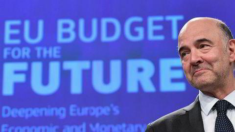 EUs finanskommisær Pierre Moscovici. Bildet er fra en pressekonferanse i Brussel om EU-budsjettet i slutten av mai.