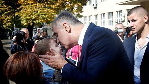 Montenegros statsminister Milo Djukanovic under valget til parlament i Montenegro.