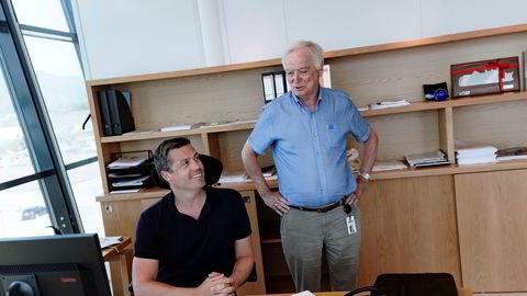 Administrerende direktør Arild Myrvoll i Havila Kystruten (til venstre) og Per Sævik, konsernsjef i Havila Holding, fotografert ved selskapets hovedkontor i Fosnavåg.