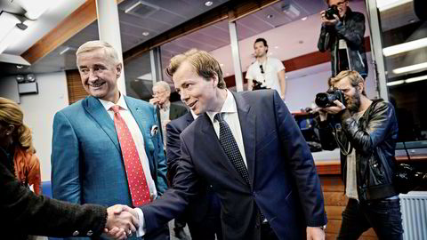 Styreleder Christen Sveaas og konsernsjef Lars Sperre i Norske Skog.