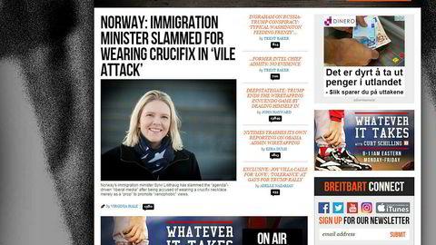 Sylvi Listhaug topper Breitbart.com.