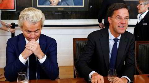 Valget i Nederland har demonstrert at meningsmålere kan ta grundig feil.Det var god avstand til høyrepopulisten Geert Wilders (til venstre) og statsminister Mark Rutte som etter alt å dømme blir sittende som leder for en ny koalisjonsregjering.