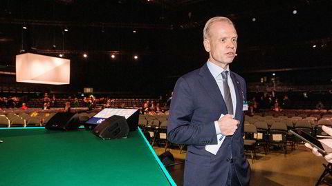 Administrerende direktør Svein Tore Holsether i Yara på NHOs årskonferanse 2020.