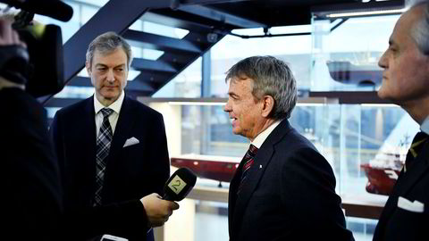 Administrerende direktør i Farstad Shipping Karl-Johan Bakken (til venstre) og reder Sverre Andreas Farstad.