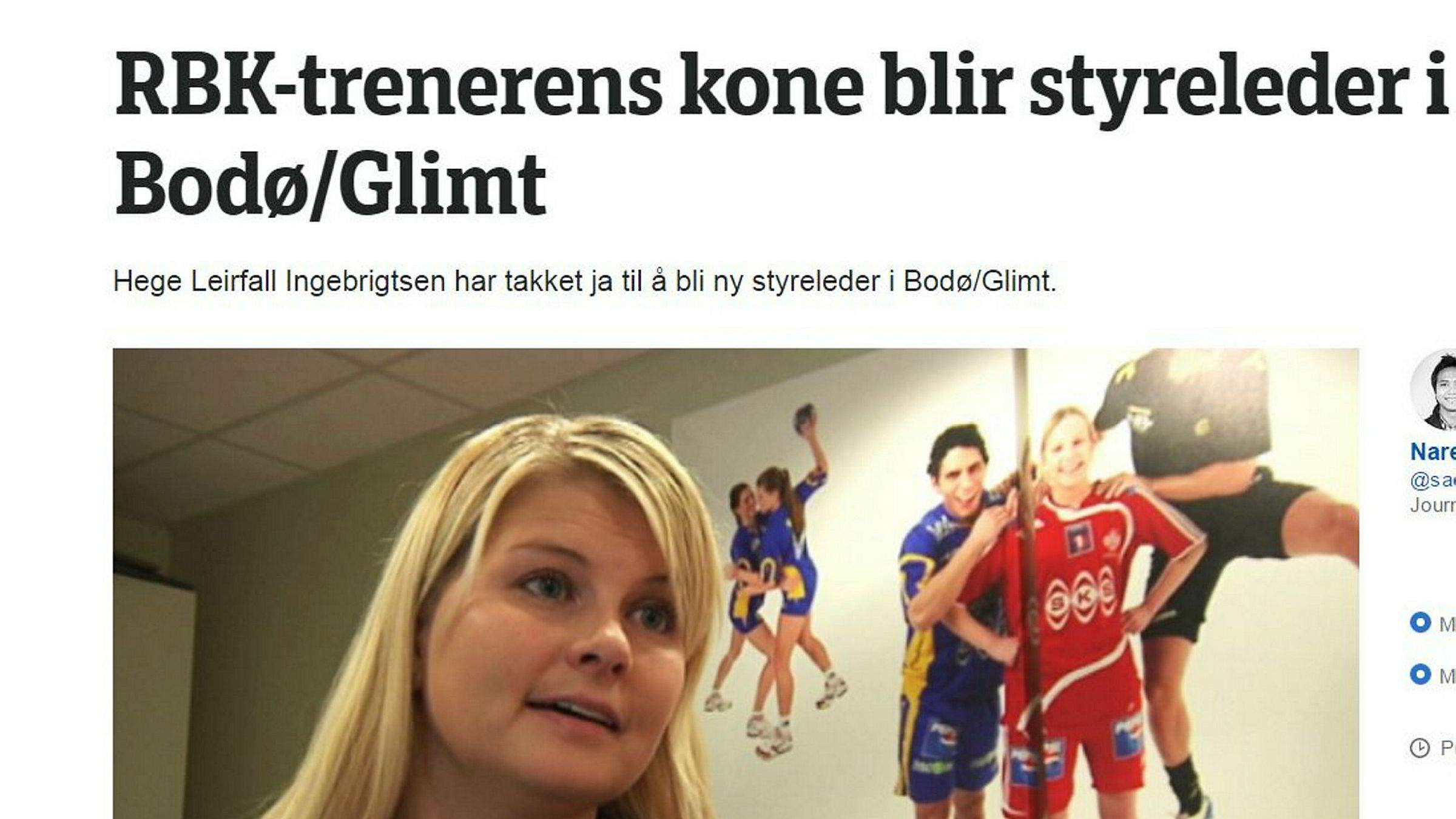 Nyhetssaken i mediene om den nye styrelederen i Bodø/Glimt er et strålende eksempel på kjønnsmakt og diskriminering i norsk idrett, skriver artikkelforfatteren.