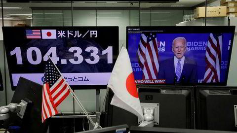 Det er en bred børsoppgang i Asia på torsdag og den japanske valutaen har styrket seg mot dollar. Her fra valutameglerselskapet Gaitame.com i Tokyo.