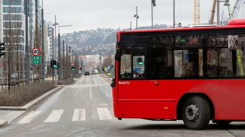 Buss i Bjørvika i Oslo.