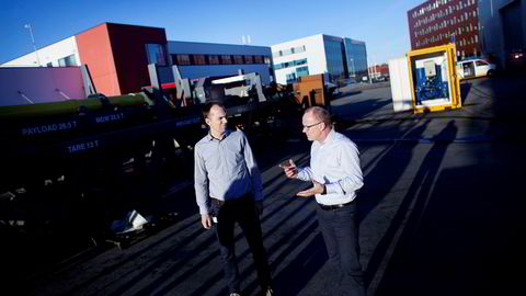 Mandag ble Martin Lingsten (til venstre) og Helge Hustoft i oljeserviceselskapet Dwellop mangemillionærer. Foto: