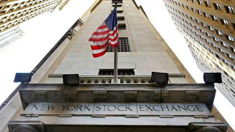 Wall Street stiger onsdag. Her fra New York Stock Exchange.