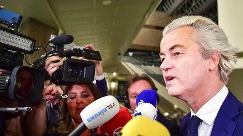 PVV-leder Geert Wilders på valgdagen i nederland.