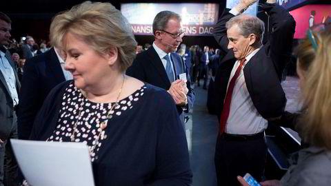 Ap-leder Jonas Gahr Støre må håndtere klare krav om oppmykning av asylpolitikken. Til venstre Erna Solberg, i midten Idar Kreutzer.