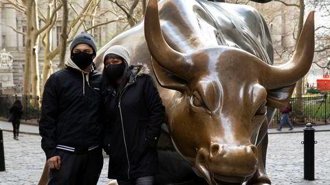 Oksen her i finansdistriktet på Manhattan i New York symboliserer oppgang på børsene.