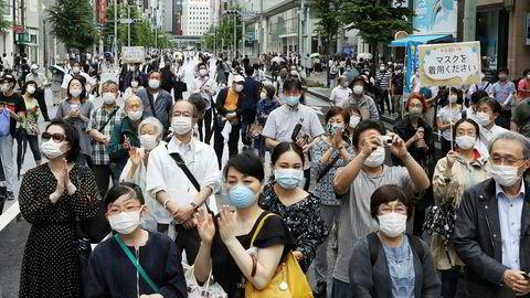 Det private forbruket falt med 12,3 prosent i Japan i mai sammenlignet med i fjor. «Det trege oppsvinget i peker mot at bruttonasjonalproduktet vil stupe i andre kvartal», skriver Capital Economics. Her fra Tokyo på søndag.