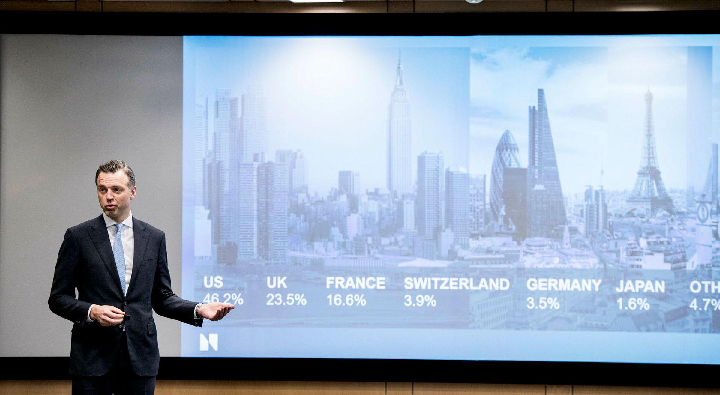 Oljefondets eiendomssjef Karsten Kallevig la tirsdag frem årsresultatene for eiendomsinvesteringene til fondet.
