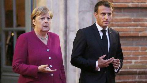 Har en plan. Tysklands forbundskansler Angela Merkel og Frankrikes president Emmanuel Macron ønsker en to års konferanse om Europas fremtid.