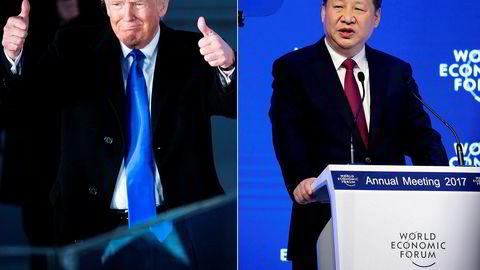 Hvem er verdens mektigste? Mens Donald Trump denne uken overtok som president i USA, markerte Kinas president Xi Jinping i Davos at Kina spiller en stadig mer fremtredende rolle på den internasjonale arena. Foto: Andy Lyons/AFP/NTB Scanpix oig Jason Alden/Bloomberg