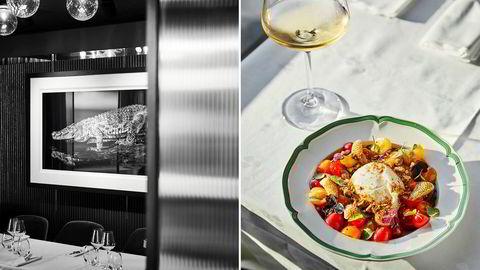 Arts Restaurant mikser et stilfullt interiør med lettbente kunstfoto og klassisk kokekunst.