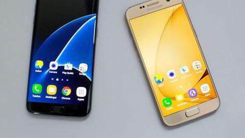 Samsung Galaxy S7 Edge (t.v.) og Samsung Galaxy S7 bli i disse dager oppdatert til Android 7.0 Nougat.