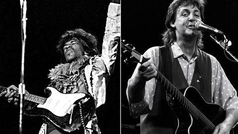 Overdose hyllest? Norske musikere skal prøve å hylle Jimi Hendrix (til venstre) på Norwegian Wood. Her er han på Monterey-festivalen for 50 år siden, en festival som også hylles i USA denne helgen.Paul McCartney fyller 75 søndag og feires av norske kjendiser på Rockefeller. Her i 1989, året han utga albumet «Flowers in the dirt», som er utvidet og nyutgitt nå. Foto: Rob Verhorst/Redferns/Getty Images & Michael Ochs Archives/Getty Images
