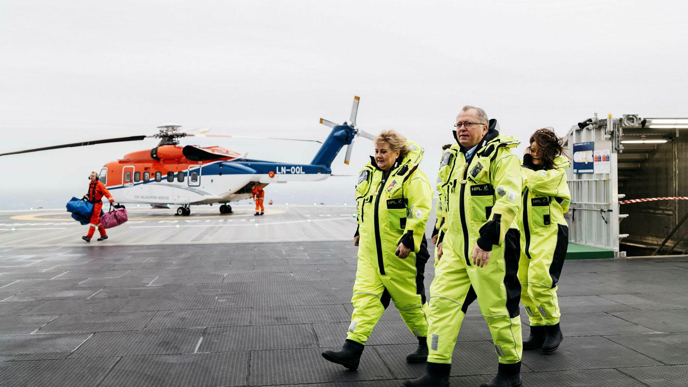 Statsminister Erna Solberg og Eqinor sjef Eldar Sætre kommer for å åpne Johan Sverdrup - feltet i Nordsjøen.