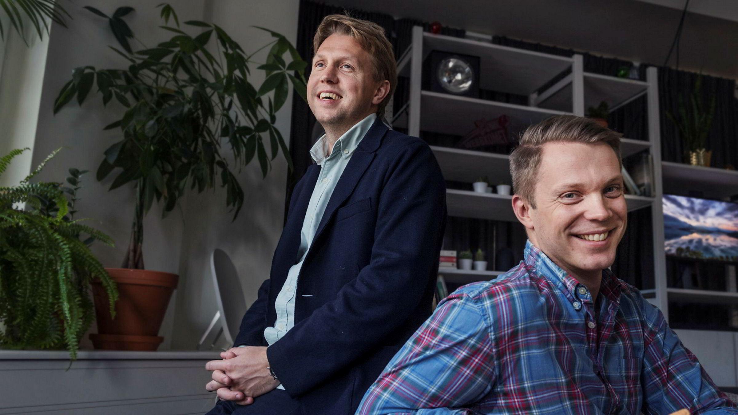 Gründerne Daniel Kjellén (til venstre) og Fredrik Hedberg vil dele sin omfattende teknologiplattform med nordiske konkurrenter og gründerselskaper.