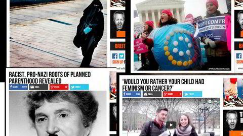 Dette er noen av sakene som har vært publisert på det kontroversielle nettstedet Breitbart.com.