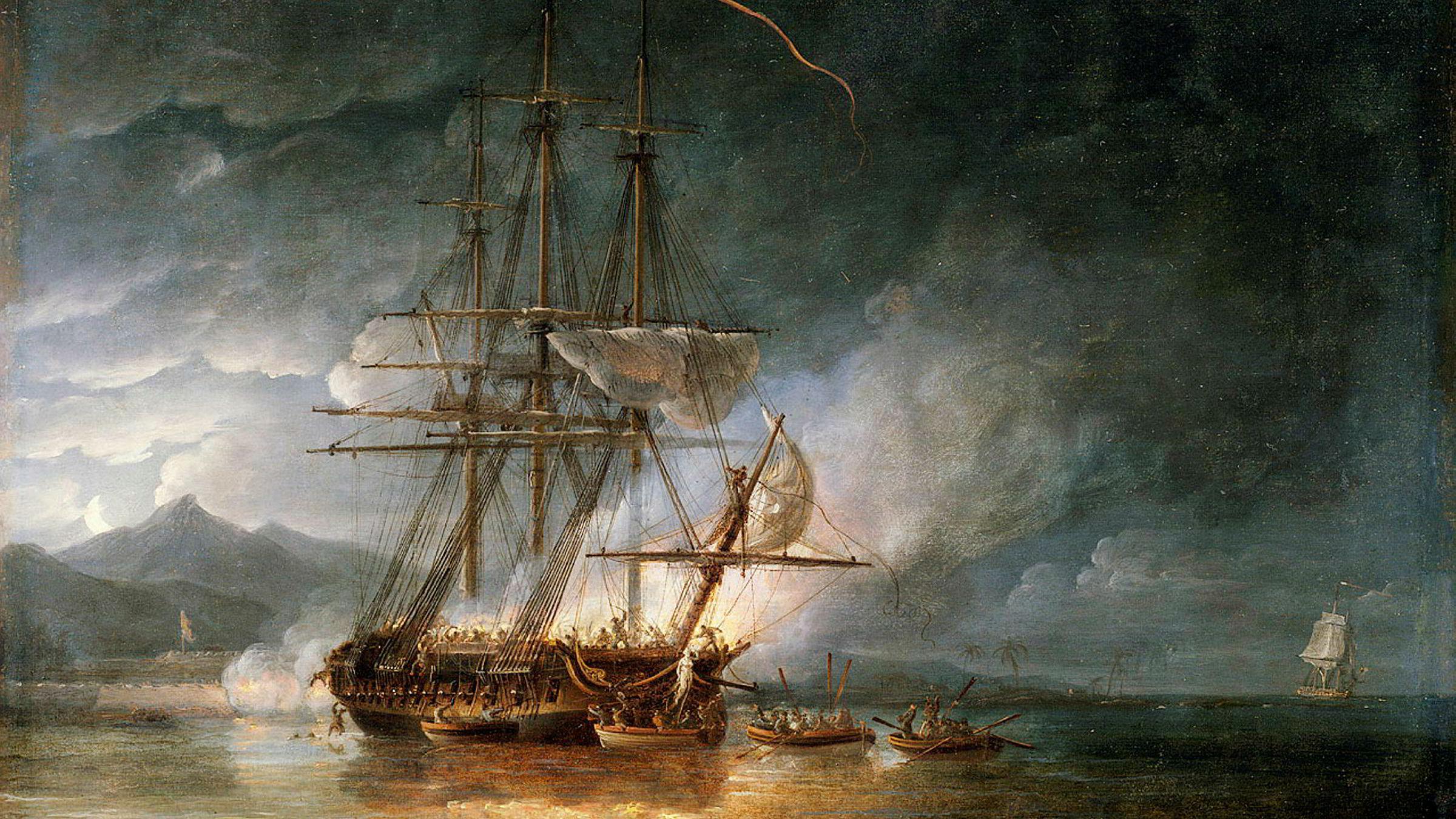 I 1797 skjedde det blodigste kuppet i den britiske marines historie på fregatten «Hermione». Maleriet viser da den britiske marinen tok skipet tilbake i 1799. Mytteriet fikk et politisk etterspill i USA som Donald Trump nå strever med. Maleriet er eid av Royal Museum of Greenwich.