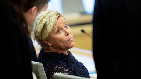 Finansminister Siv Jensen under høringen om SSB-saken.