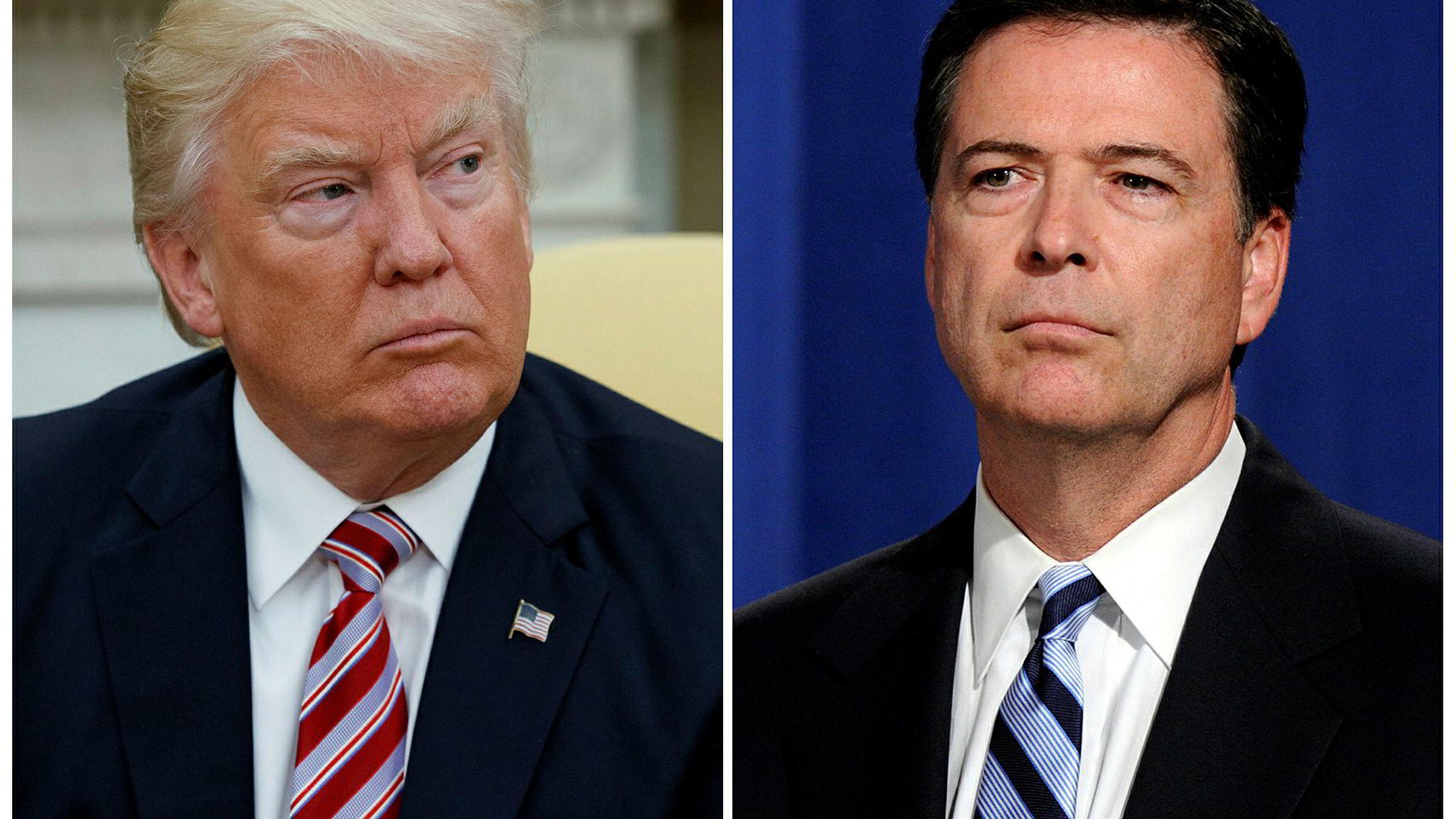 USA-president Donald Trump (t.v.) og Det hvite hus ble onsdag tatt på sengen da tidligere FBI-sjef James Comey offentliggjorde manuskriptet for sin tale til kongressen torsdag.