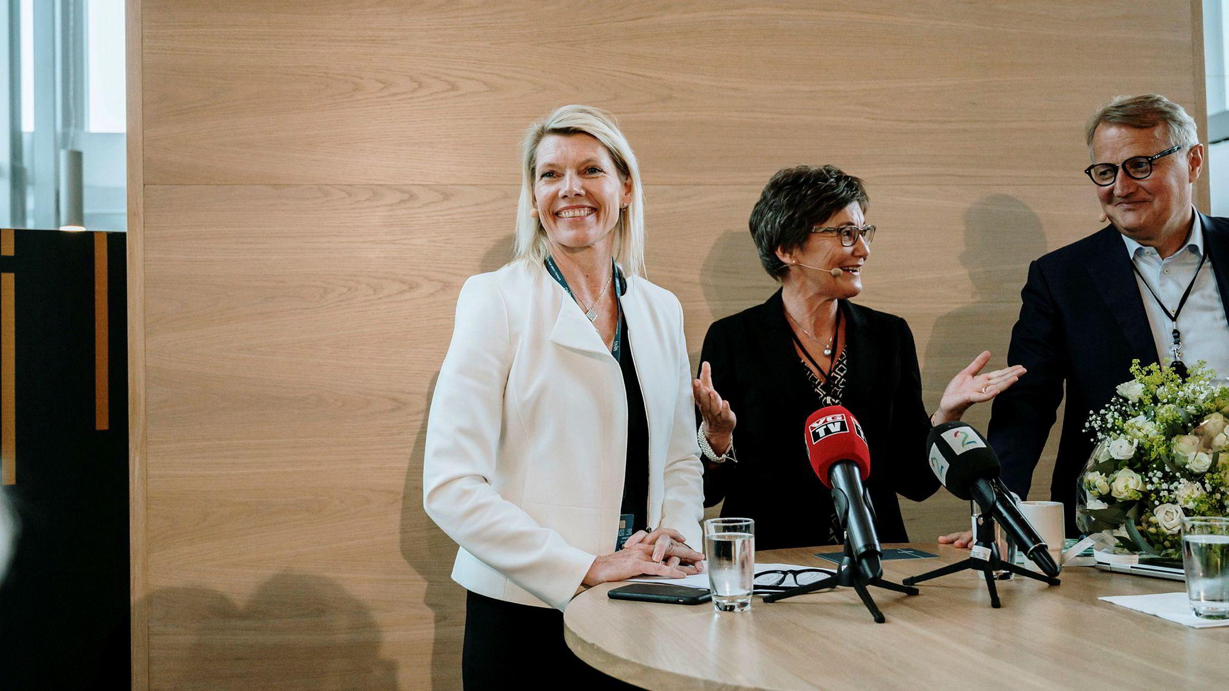 Tre blad svigermors drøm ifølge aksjemarkedets vurdering: DNB-sjef Kjerstin Braathen, styreleder Olaug Svarva og gammel DNB-sjef Rune Bjerke.