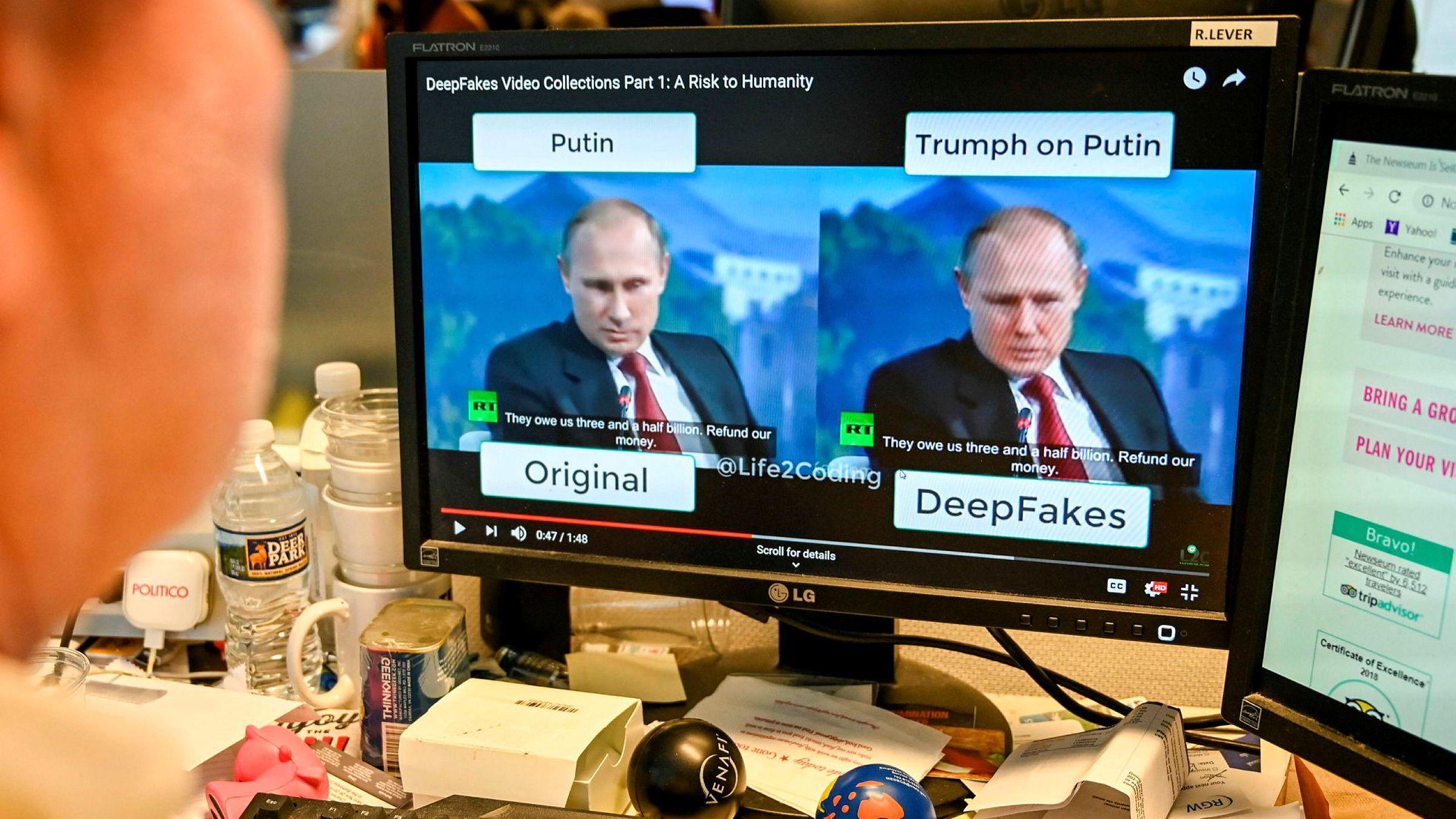 Teknologien som lager troverdige falske videoer er blitt kraftig forbedret i løpet av få måneder. De amerikanske teknologiselskapene går sammen for å utvikle teknologi og løsninger for å identifisere falske videoer. Russlands president Vladimir Putin og USAs tidligere president Barack Obama er utsatt for «deepfake»-videoer.