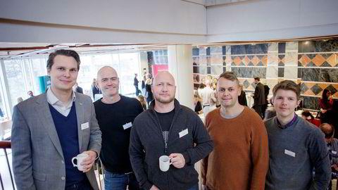 Joakim Eriksen (fra venstre), Lars Erik Obst, Trond Bjelland, Tom Daniel Reiersen og Magnus Dahlberg i Trygg Kurs as er kåret til gasellebedrift for andre år på rad.